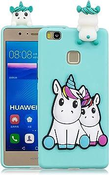 Funluna Coque Huawei P9 Lite, 3D Licorne Motif Ultra Fine TPU Housse Flexible Souple Silicone Etui Coque de Protection pour Huawei P9 Lite