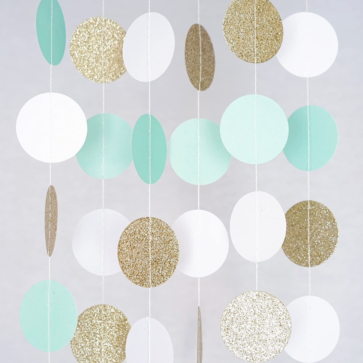 Circle Dots Paper Party Garland Streamer Backdrop (10 Feet Long) - Mint, White, Gold Glitter