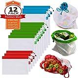 BOBO-Y Bolsas reutilizables de malla de producción,Bolsas Compra Reutilizables Ecológicas Bolsas lavables para Almacenamiento frutas, vegetales, juguetes almacenaje de tiendas de comestibles y en varios tamaños (12)