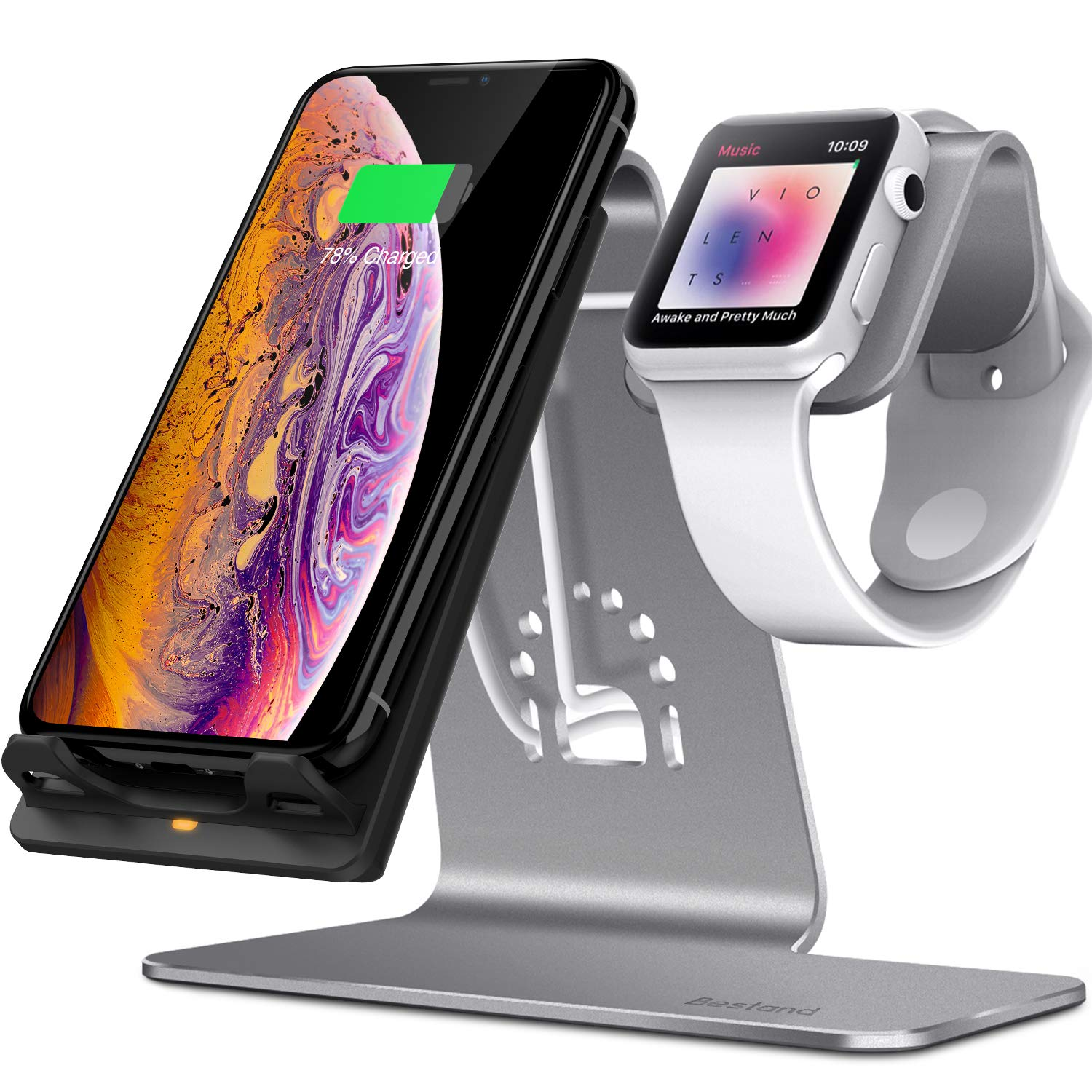 Bestand 2 in 1 Phone Wireless Charging Stand & Apple Watch Charging Stand Holder for Apple iWatch/iPhone X/ 8 Plus /8-Space Grey