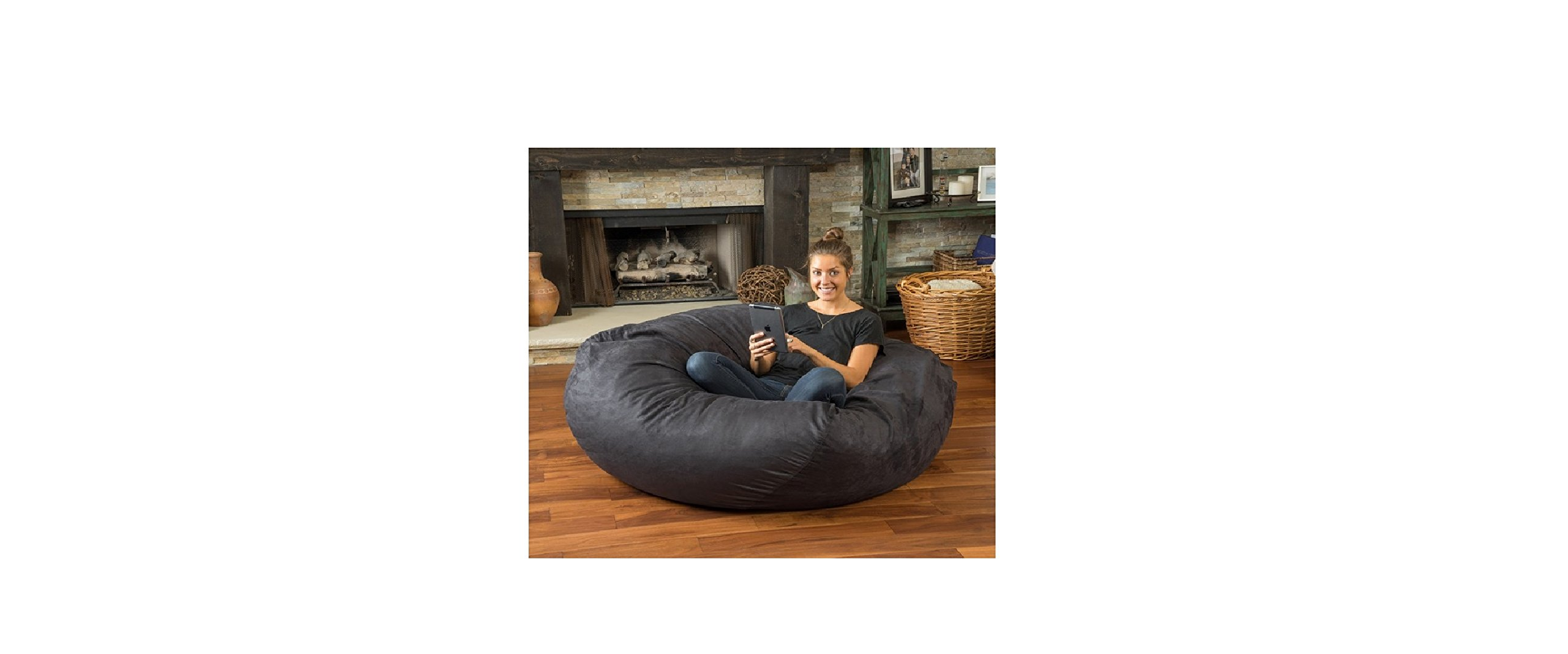 Huge 5-foot Bean Bag Faux Suede By Christopher Knight Madison. This Super Comfortable Beanbag Now Is for Sale! Extra Large Bean Bag Chair Is Amazing Both for Adults and for Children, Kids Can Play on It, While Adults Can Simply Relax in Its Softness (Char