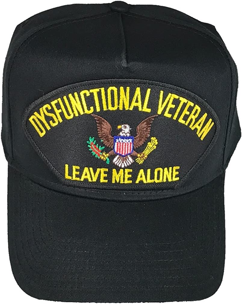 LEAVE ME ALONE DYSFUNCTIONAL VETERAN Black Adjustable Hat Free Shipping