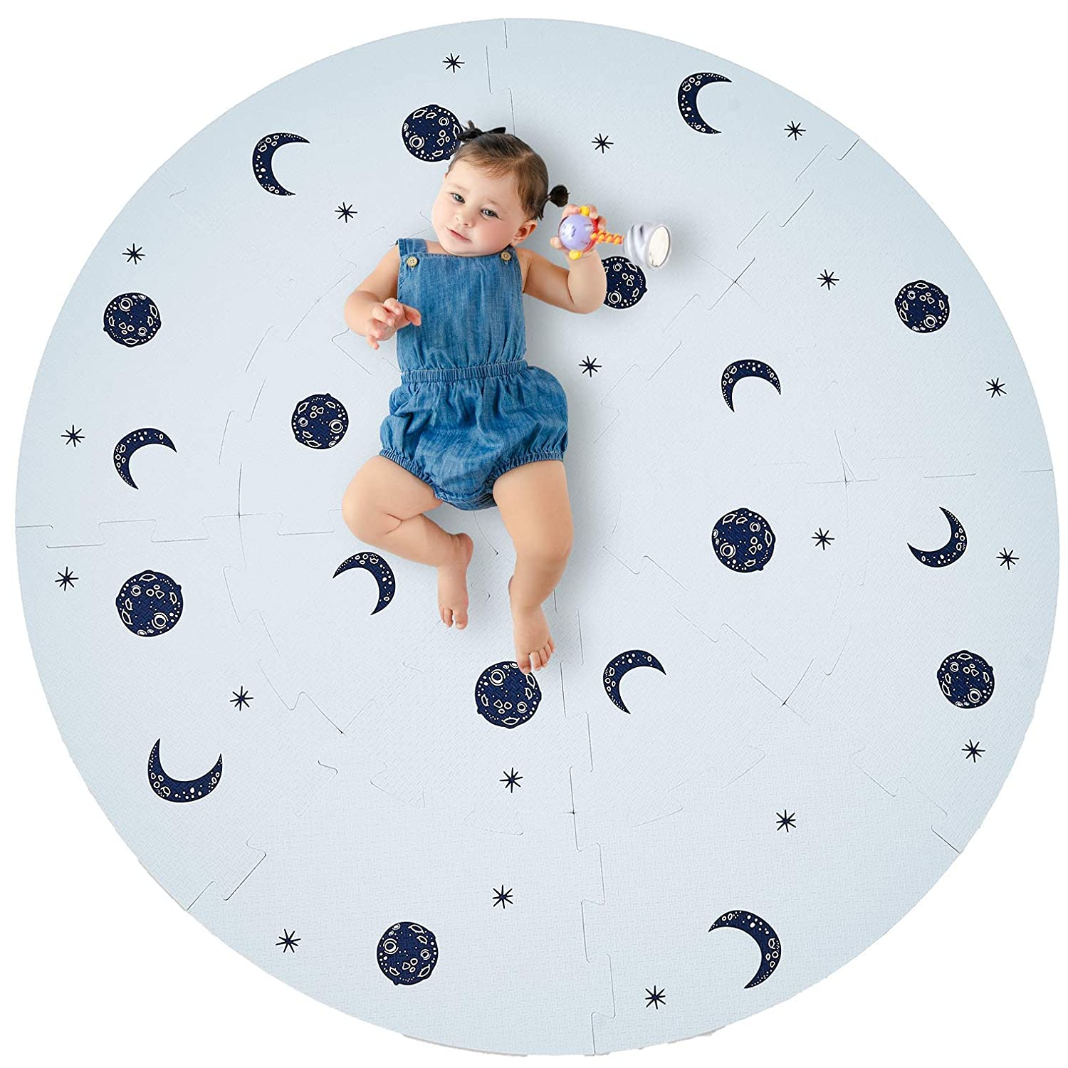Stylish Extra Large Baby Play Mat Soft Playmat, Thick Comfortable Foam. Circle Floor Tiles with Edges for Babies. Non-Toxic, No Odors, Spill Resistant, Durable. 3 feet 7 inches Diameter