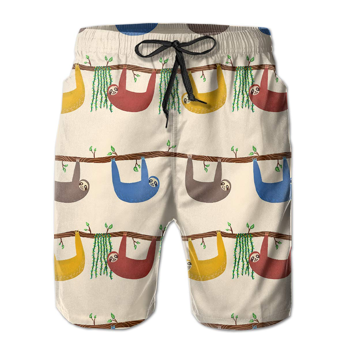 Feimao Multicolored Sloths Mens Beach Pants Summer Casual Short Pants with Pockets