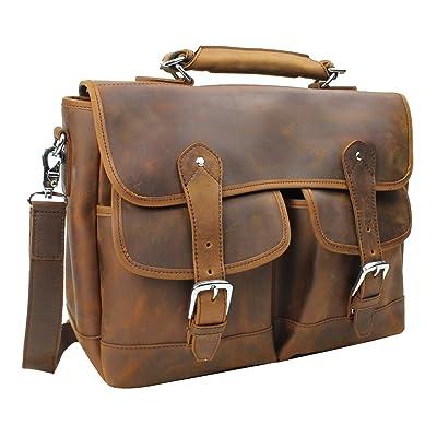 Vagabond Traveler Spacious Cowhide Leather Messenger Bag L53. Vintage Brown.
