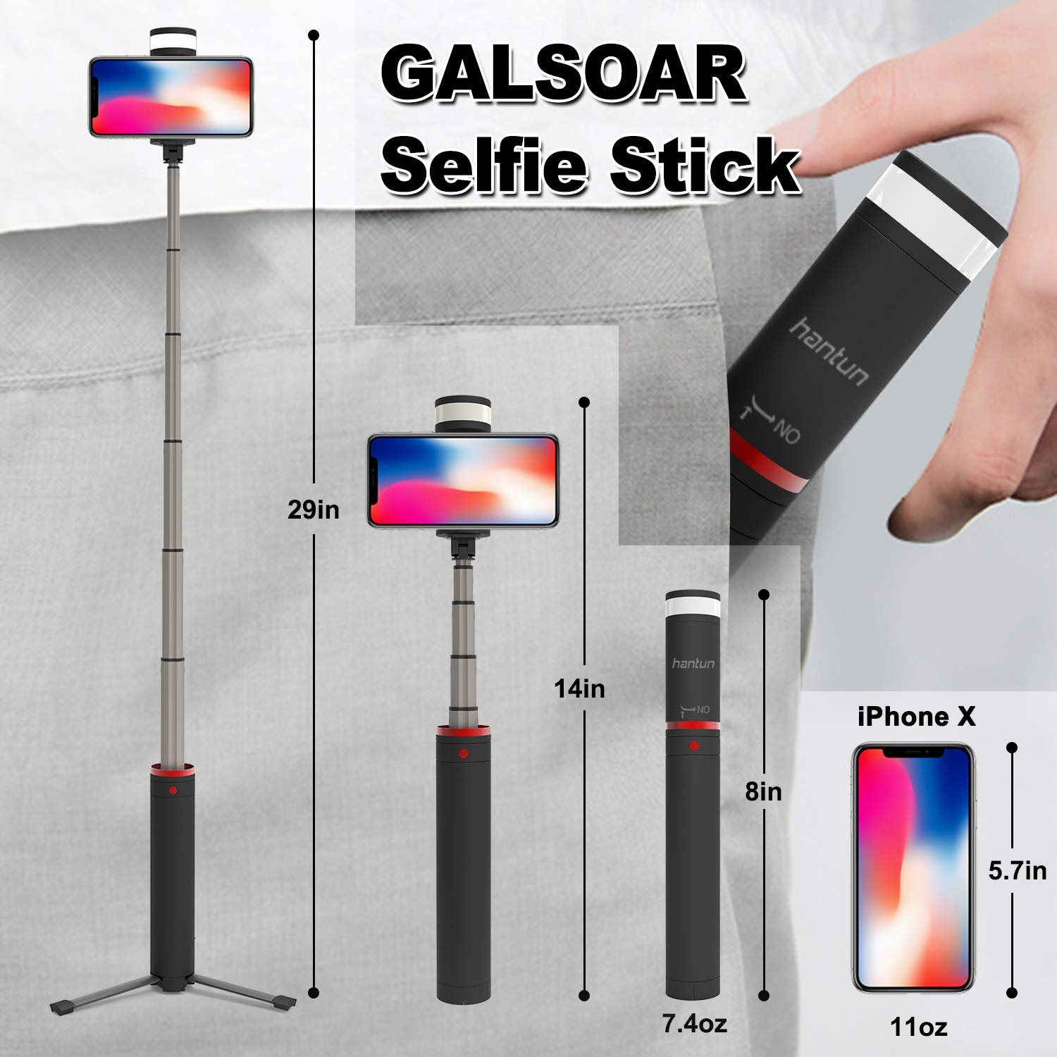 Google Pixel and All Andriod Phones Hantun Selfie Stick Tripod Galaxy S10//9//8//Note 3 in 1 Extendable Bluetooth Selfie Stick with Wireless Remote Shutter and Fill Light for iPhone Xs//Xs Max//XR//X//8