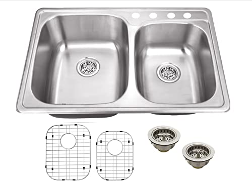 MSDP6040PGR 33-1 8-in x 22-in 20 Gauge Stainless Steel Double Bowl Kitchen Sink with Grid Set and Drain Assemblies