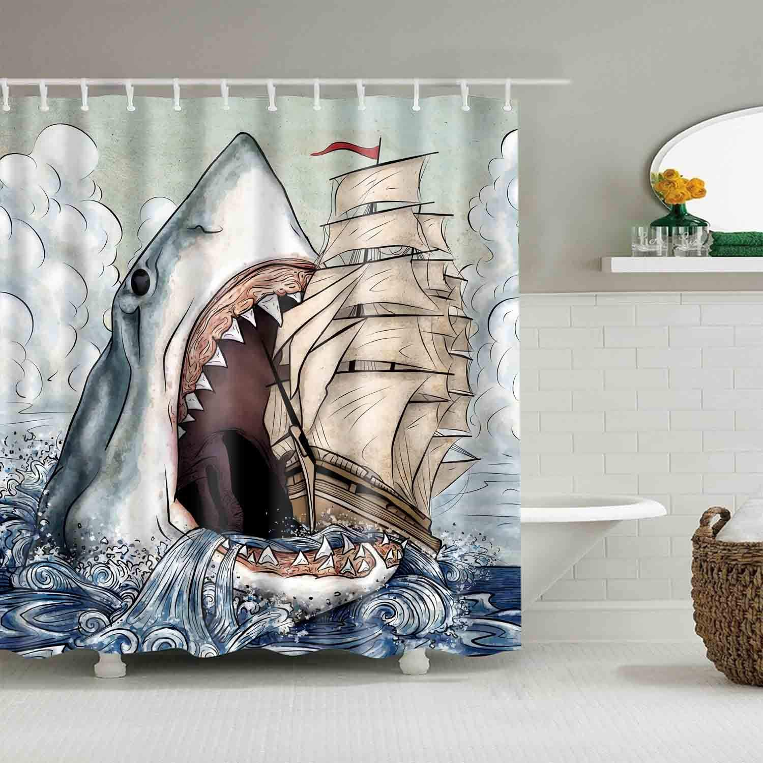 "Big Mouth Shark Shower Curtains Mediterranean Style Marine Life, Bath Fantastic Decorations Waterproof Polyester Fabric Bathroom Shower Curtain Liner with Hooks 72"" x 72"" (Shark)"