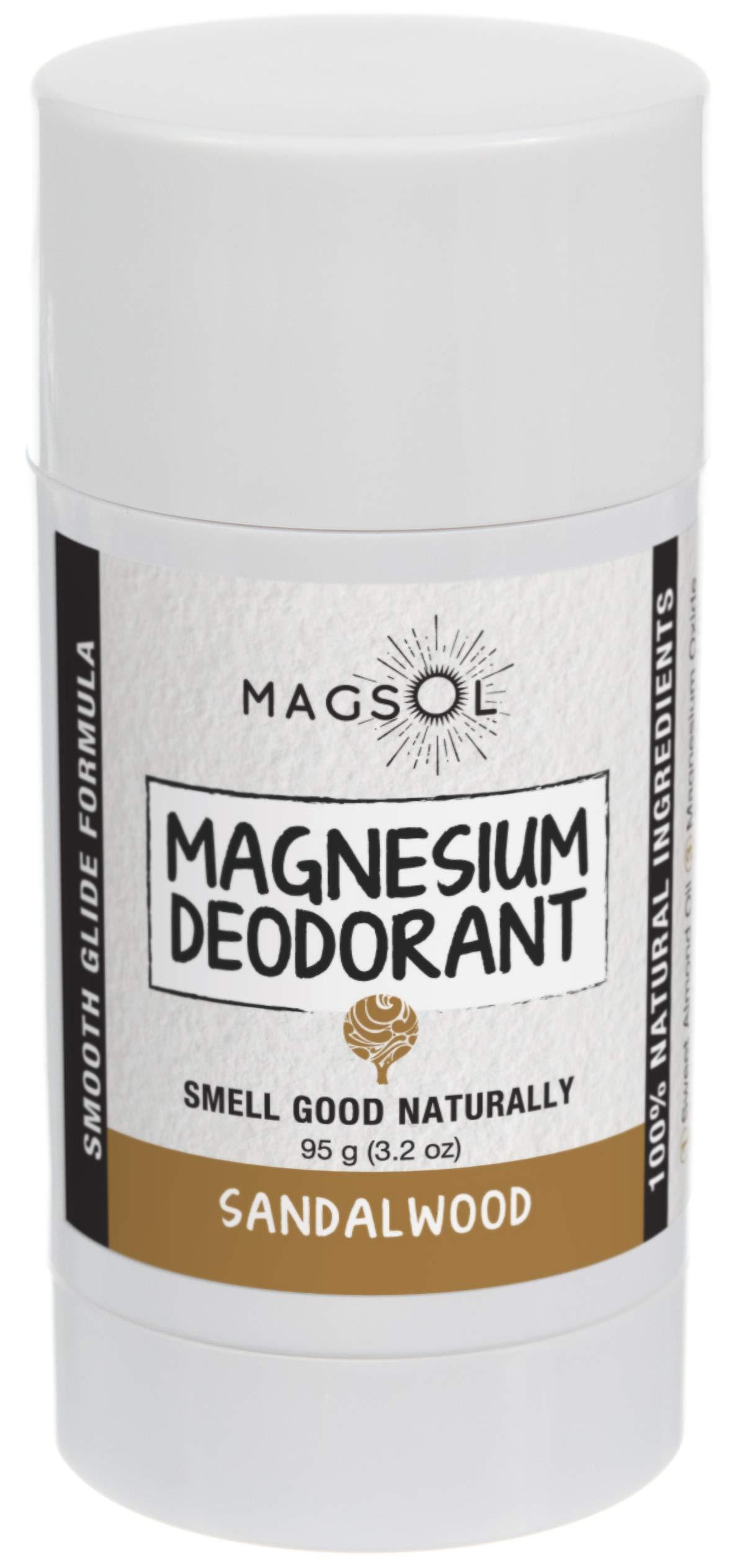 Sandalwood Magnesium Deodorant - Aluminum Free, Baking Soda Free, Alcohol Free, Cruelty Free, Sensitive Skin, All Natural, For Women Men Boys Girls Kids - 2.8 oz (Lasts over 4 months)