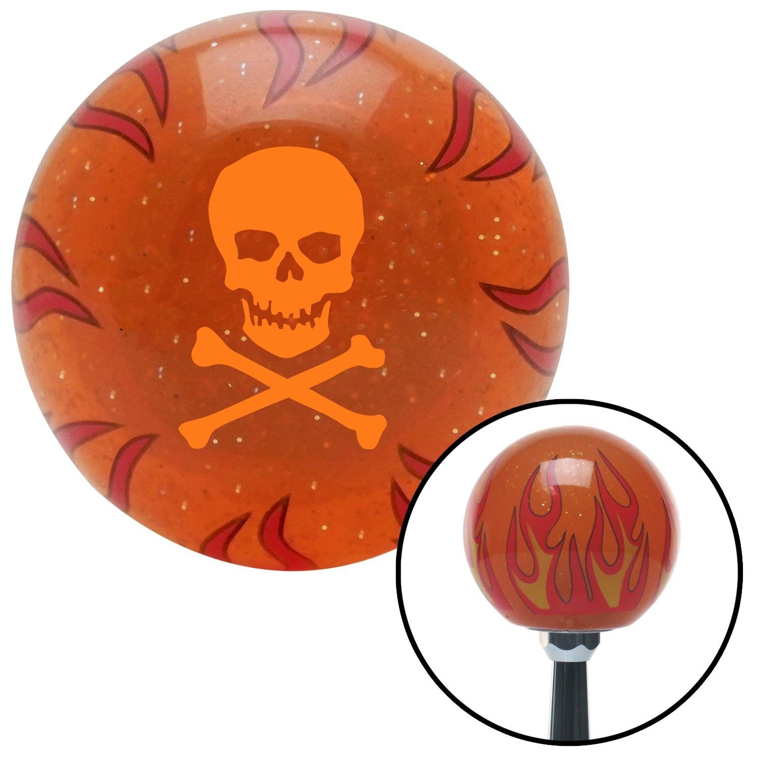 American Shifter 255104 Orange Flame Metal Flake Shift Knob with M16 x 1.5 Insert Orange Skull and Bones