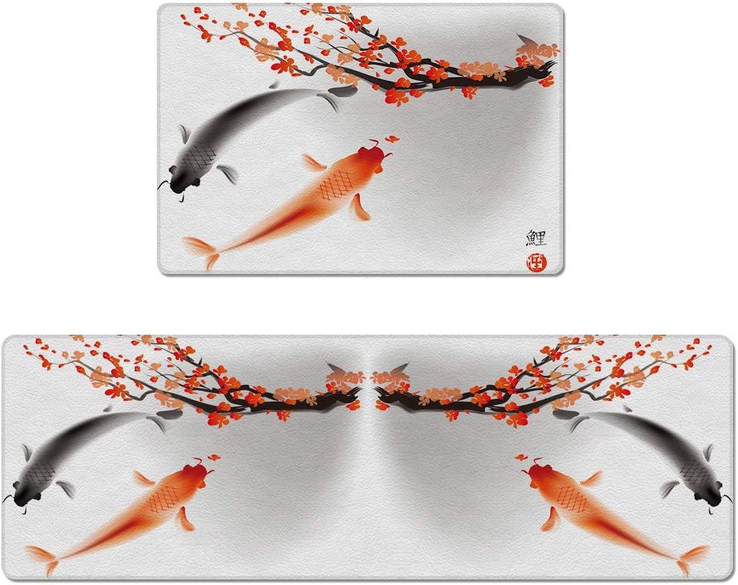 USOPHIA Kitchen Floor Mat Set of 2,Koi Carp Fish Couple Swimming with Cherry Blossom Sakura Branch Culture Design Waterproof PVC Non Slip for Indoor Outdoor Home Office Use 18 x30 18 x59