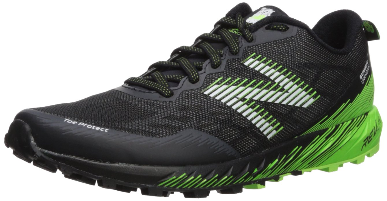 New Balance Men's Summit Unknown Trail Running Shoe, Black/Lime, 7 D US