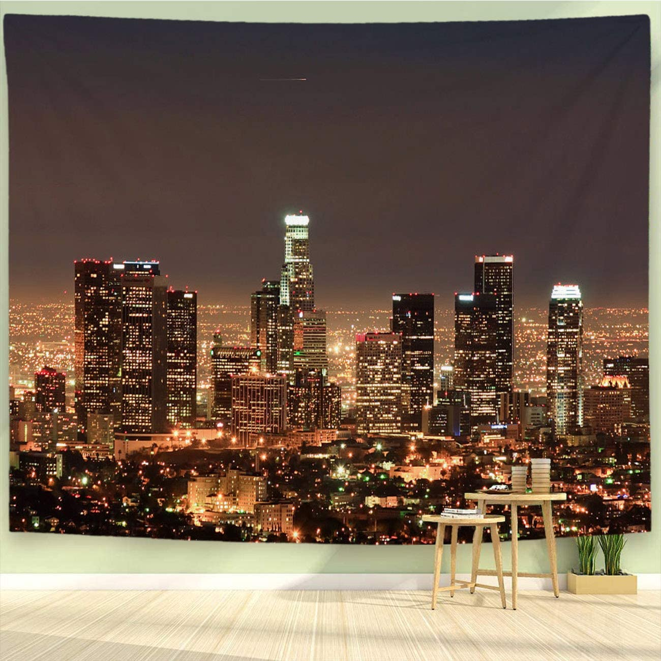 BEIVIVI Cityscape Tapestry,Colorful Art Design Tapestry,Downtown Los,Wall Art Decoration for Bedroom Living Room Dorm,Window Curtain Picnic Mat,90x70in