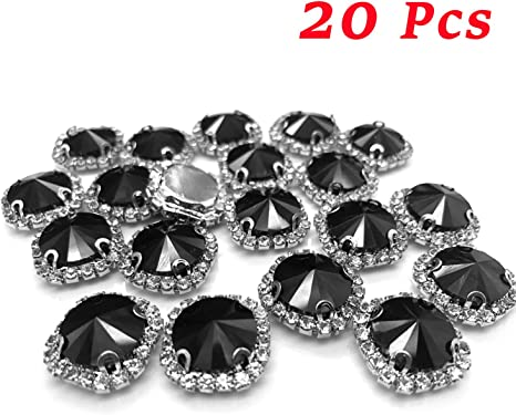 100 Black Flatback Acrylic Square Sewing Rhinestone Beads 14mm Sew On Beads