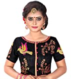 Kuvarba Fashion Women's Banglori Silk Stiched readymade free size Saree Blouse with thread embroidery and boat neck.