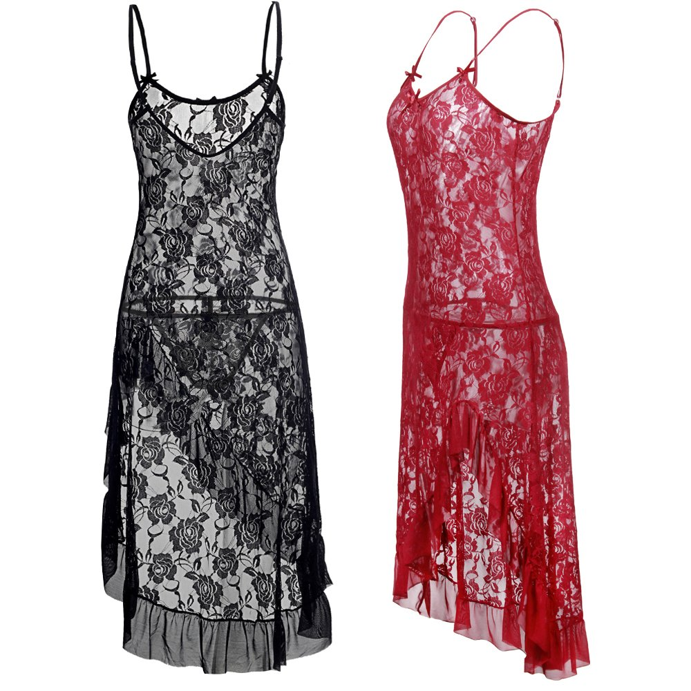 LOVELYBOBO 2 Pack Women Lace Nightwear Lingerie Plus Size Lace High Split Long Gown Dress Sexy Babydoll Chemise (Black+Red) by LOVELYBOBO (Image #4)