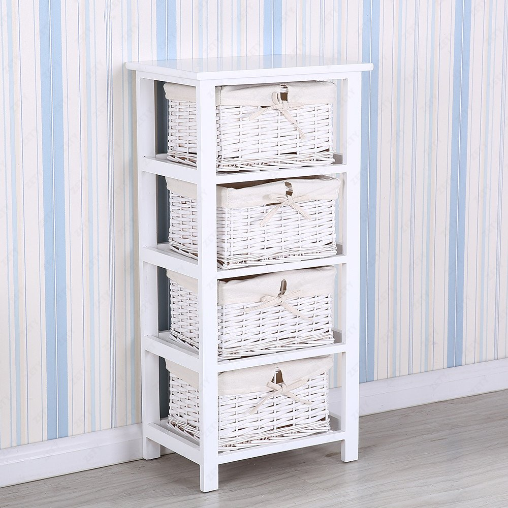Tetbury white storage unit with 5 drawers bedroom furniture direct - Uenjoy Bedside Cabinet White Chest Of 4 Drawers Storage Unit Wooden Wicker Look Basket Amazon Co Uk Kitchen Home