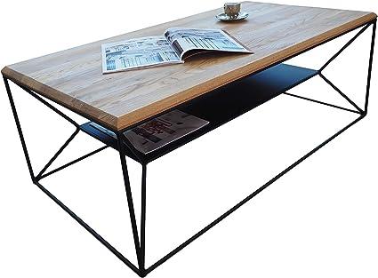 Rovere 110 x 60 x 40 cm Lumarc Lipari Tavolino da Salotto in Legno Massello di Quercia Naturale dal Design Moderno Industriale Minimalista Rettangolare