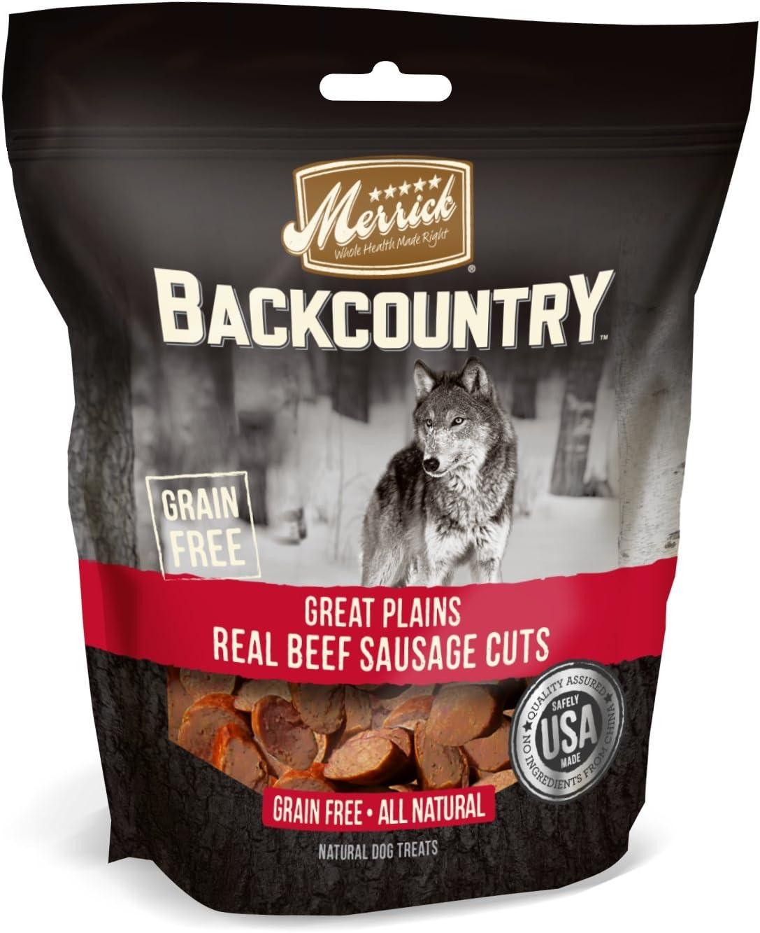 Merrick Backcountry Grain Free All Natural Dog Treats Great Plains Real Beef Sausage Cuts 5oz