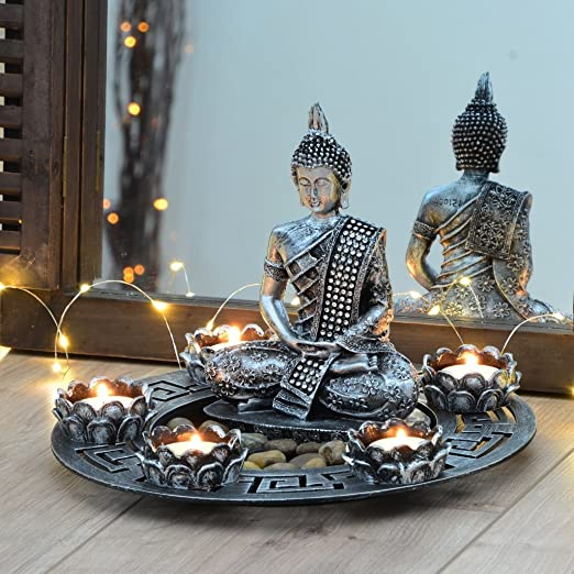 Plato decorativo de Buda de color plateado con portavelas de té y piedras decorativas