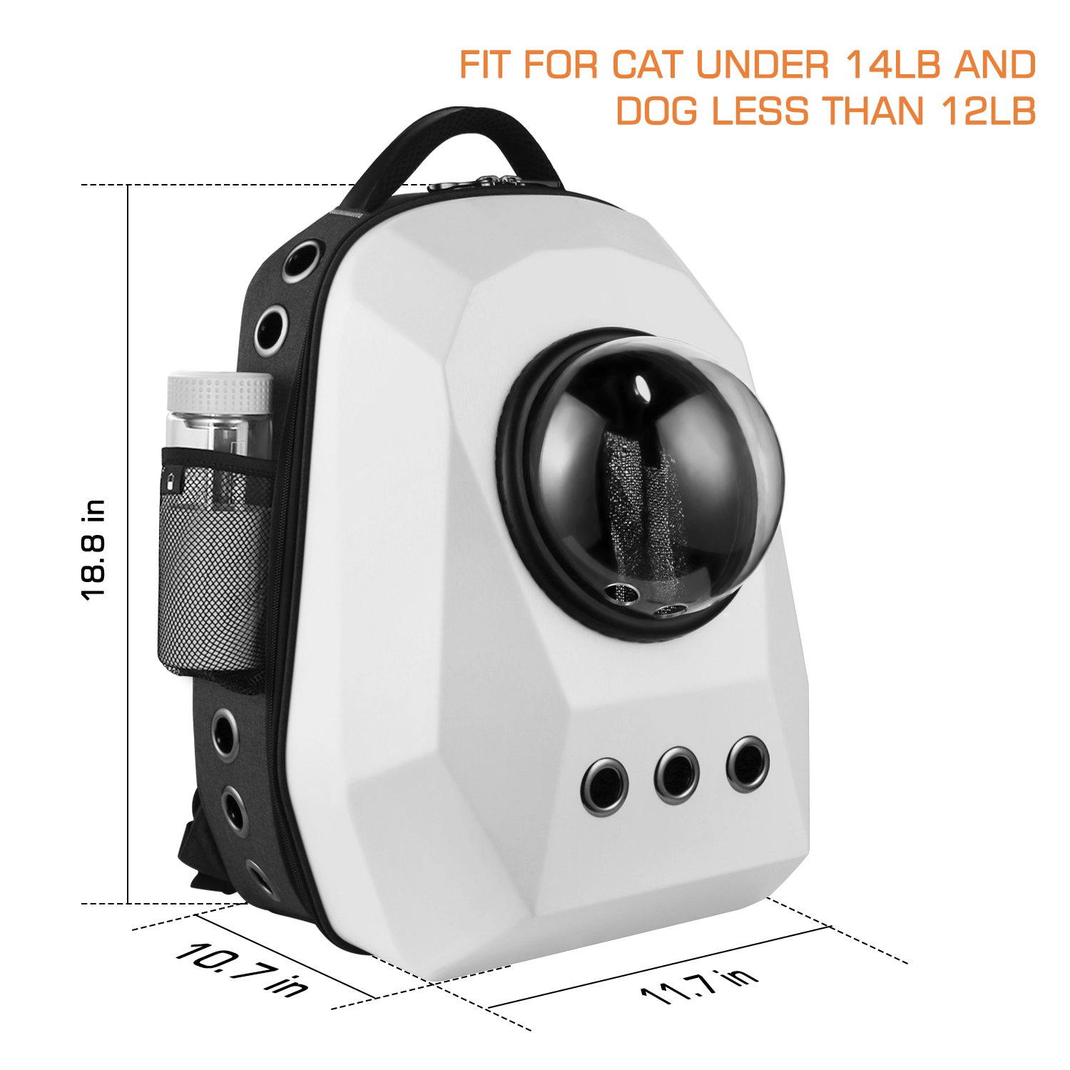 Anzone Large Capacity Diamond Space Capsule Pet Carrier Backpack with Three Replaceable Windows, 15 Air Vent Holes Outdoor or Traveler Waterproof Knapsack for Cats Dogs & Petite Animals-White