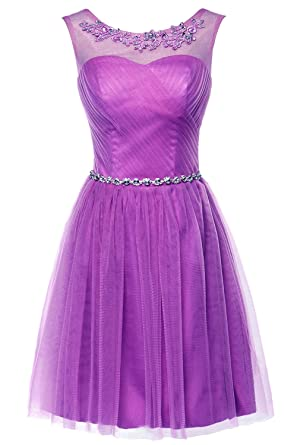 Erosebridal Short Tulle Evening Cocktail Dresses Lace Prom Gowns Bridesmaid Dresses for Women UK 30W Purple