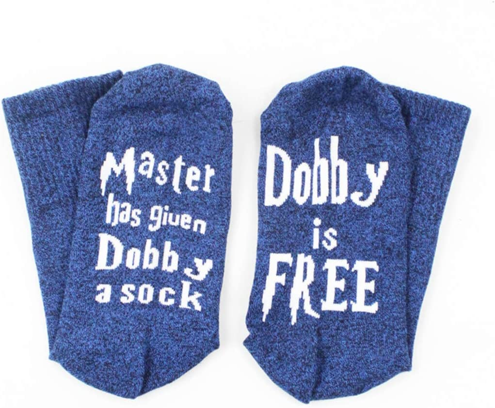 Yeaphy Master Has Given Dobby a Sock Chic Women Men Socks Funny with Sayings on The Bottom,Funny Crew Socks Gifts
