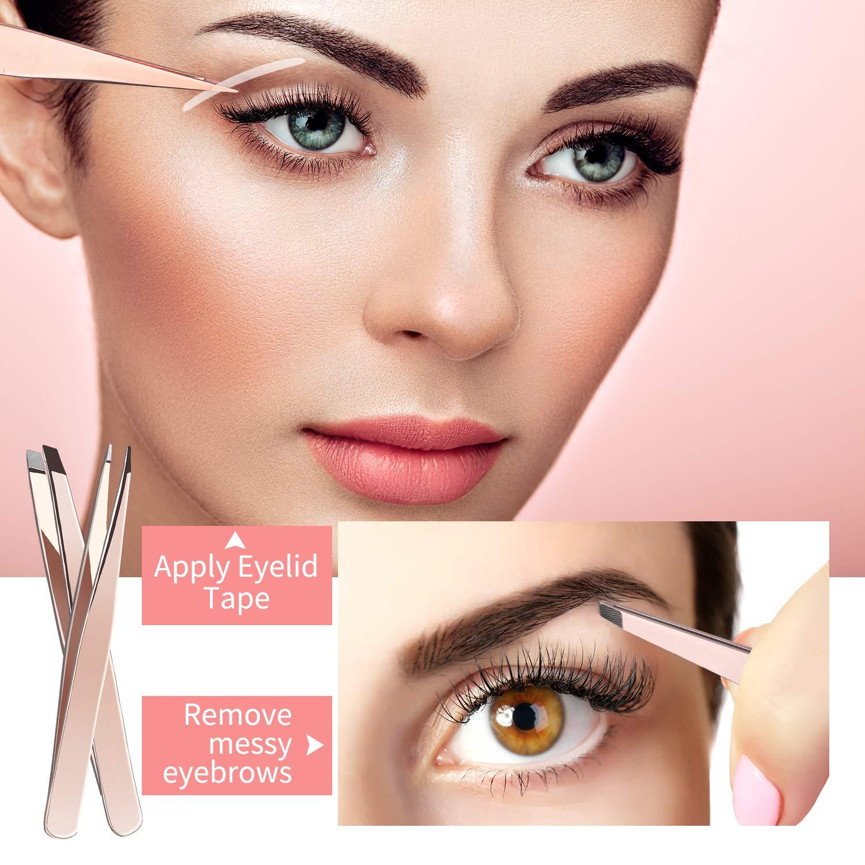 Eyebrow Razor Kit for Women, Grooming Tools with 4 PCS Premium Eyebrow Tweezers, Eyebrow Razor with Comb, Eyebrow Scissors, 10 PCS Eyebrow Stencil Kit (Rose Gold Eyebrow Kit-Dark Brown Eyebrow Pencil): Beauty