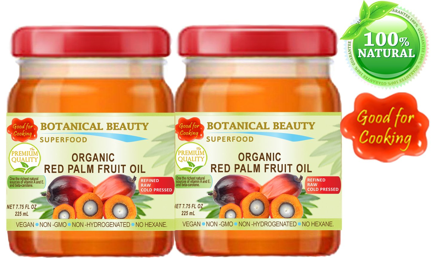 RED PALM FRUIT OIL Brazilian ORGANIC. 100% Pure / REFINED / Undiluted Cold Pressed. SUPER FOOD. 7.75 Fl.oz – 225 ml. ( PACK 2 )