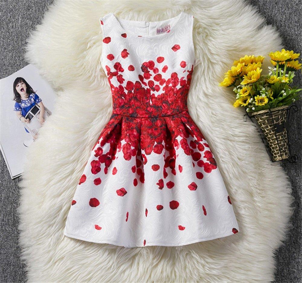 TMKOO 2018 Niñas Vestido Verano Mariposa Floral Imprimir Adolescentes Vestidos para Niñas Diseñador Formal Vestido de Fiesta Niños 6-12Año de edad (tamaño ...