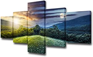 "5 Pcs Canvas Wall Art - Trees on Hillside of Mountain Range with Coniferous Forest and Flowers on Meadow,Day and Night with Full Moon- Modern Home Decor Stretched and Framed Ready to Hang -50""W x 24""H"