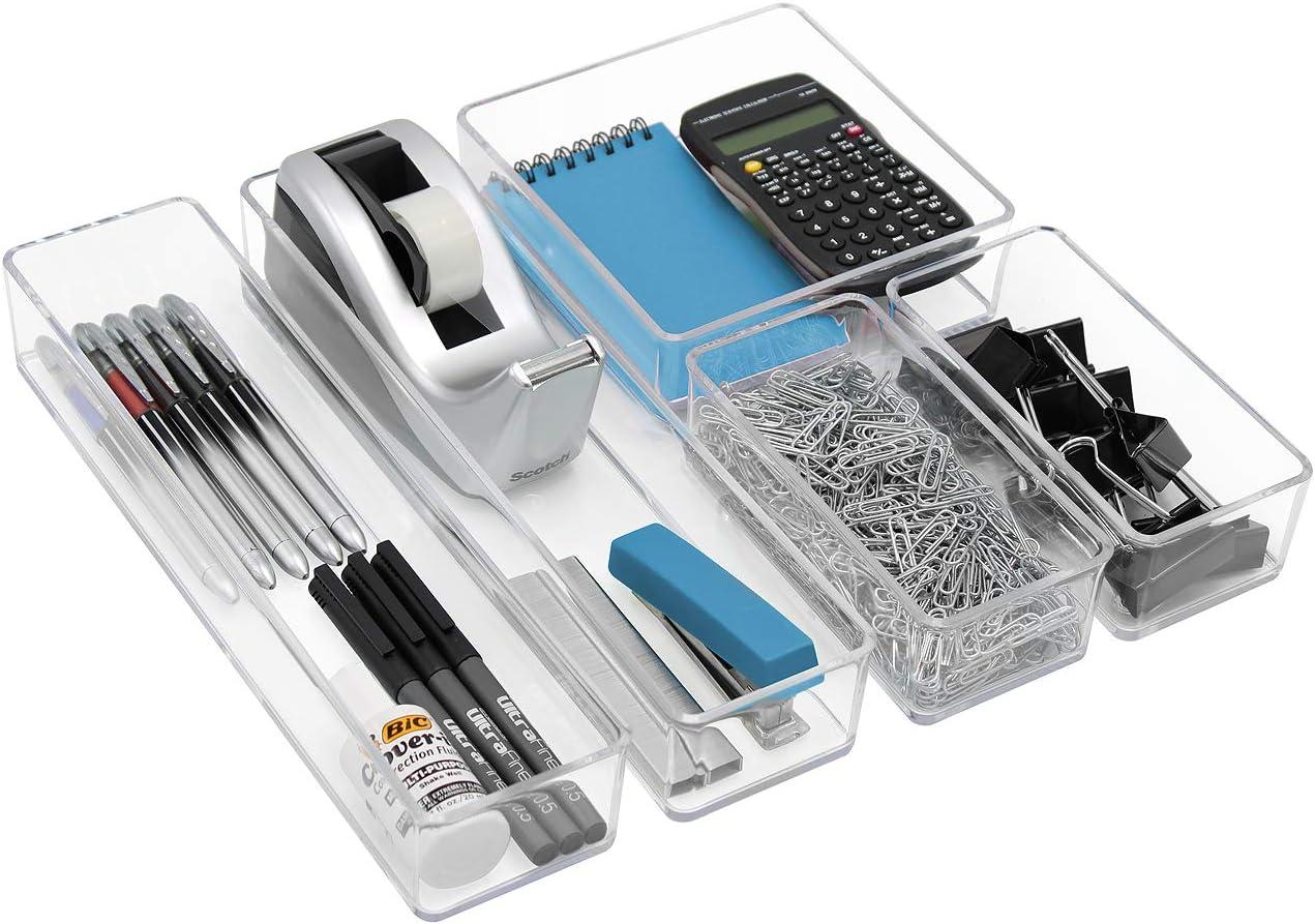 Sorbus Clear Drawer Organizer 5-Piece Set, Multi-Purpose Organizer Bins for Makeup, Desk Office Supplies, Vanity, Bathroom, Kitchen Organization, and more