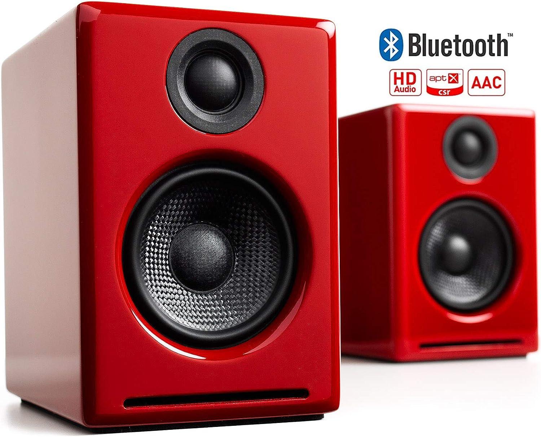 Audioengine A2+ Plus Wireless Speaker Bluetooth   Desktop Monitor Speakers   Home Music System aptX Bluetooth, 60W Powered Bookshelf Stereo Speakers   AUX Audio, USB, RCA Inputs,16-bit DAC (Red)
