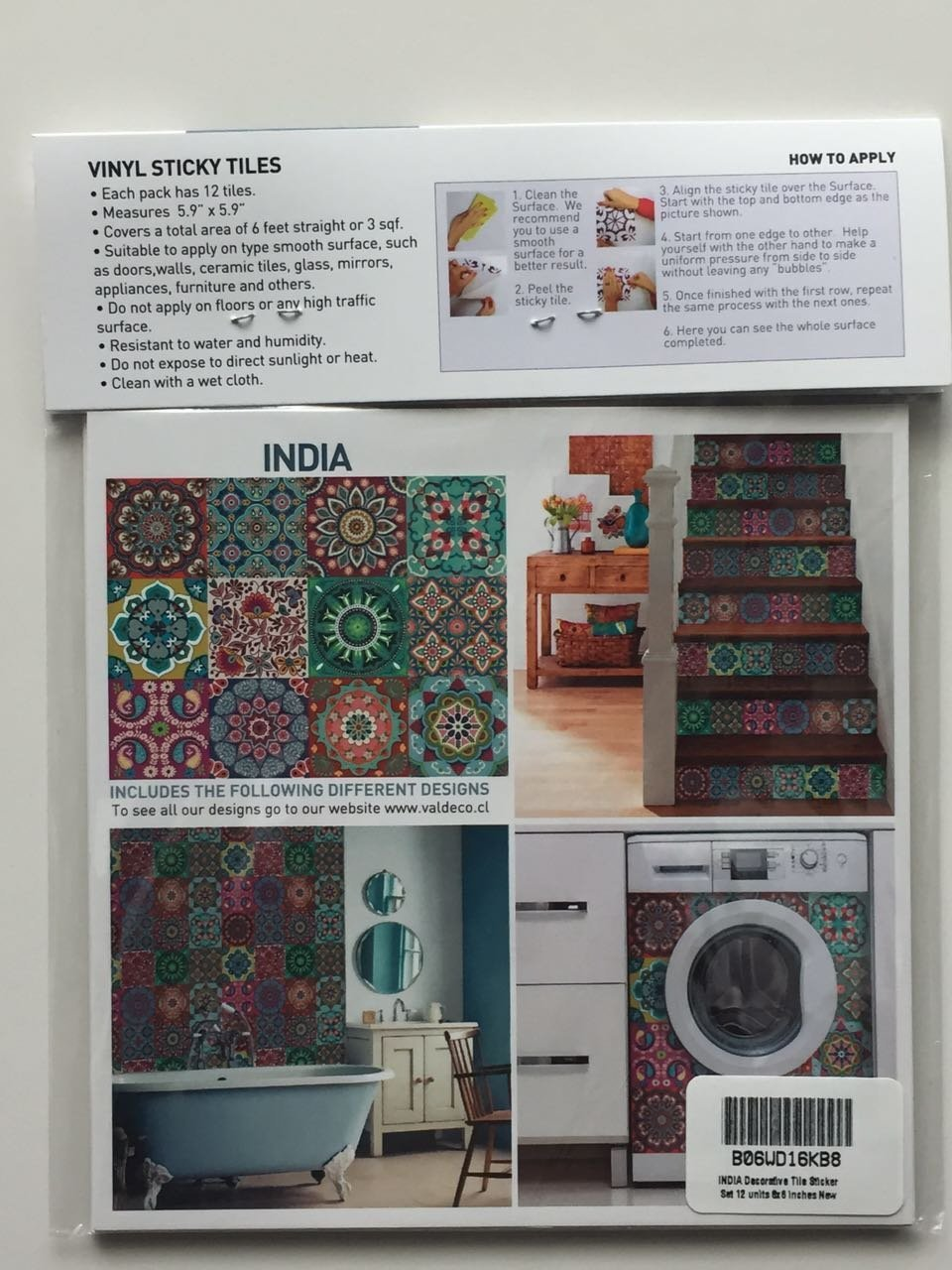 Amazon India Decorative Tile Stickers Set 12 Units 6x6 Inches