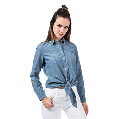 Levi s Womens Womens Liza Tie Shirt in Denim - 14  Levis  Amazon.co ... 3930315f0a