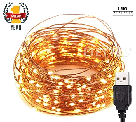 LTETTES 150 LED USB Powered Ultra Durable Copper String Lights Waterproof IP65 for Bedroom, Christmas, Party Tapestry Diwali Decoration Fairy Lights, 15 m, Warm White Decoration Lights at amazon