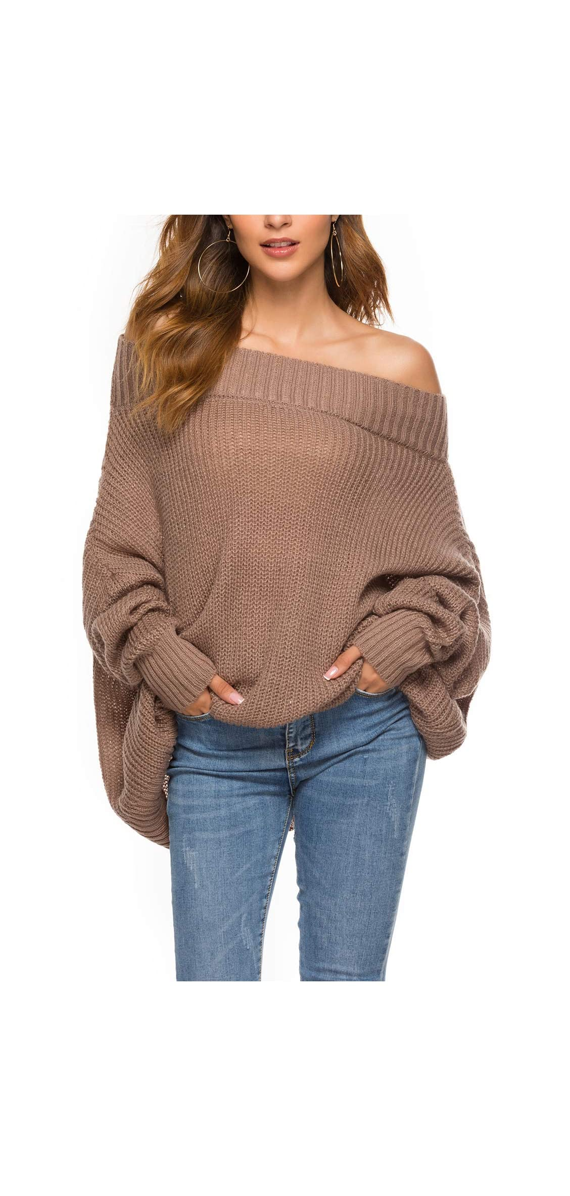 Women Off Shoulder Sweater Loose Pullover Batwing Sleeve