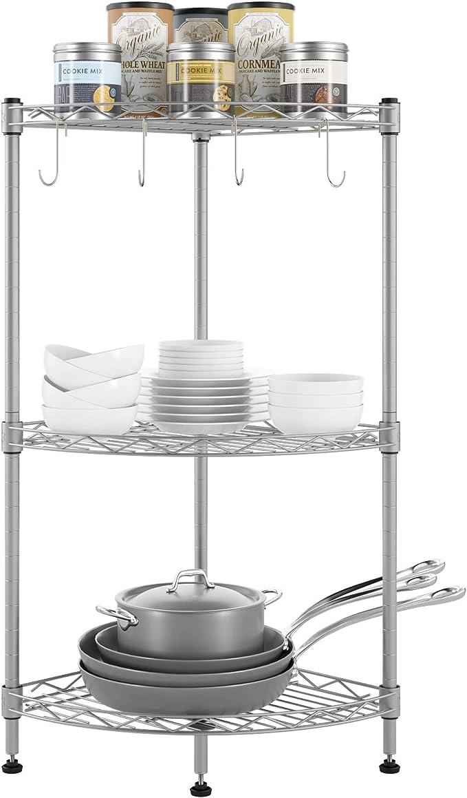 cocina color blanco GHQME Estanter/ía de pie de metal con 3 estantes para esquina 3 estantes. cargas pesadas para flores para libros