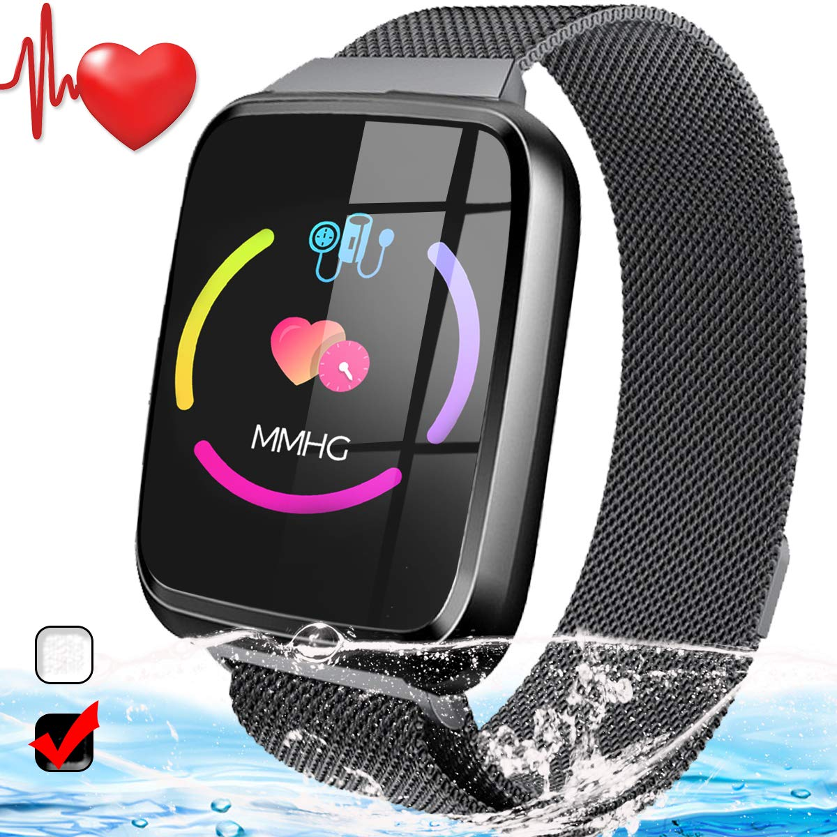 Beasyjoy Fitness Tracker, Activity Tracker Watch with Heart Rate Monitor,Fitness Wristband IP68 Waterproof Smart Band with HR Step Counter,Calorie Counter,Pedometer for Kids Women Men