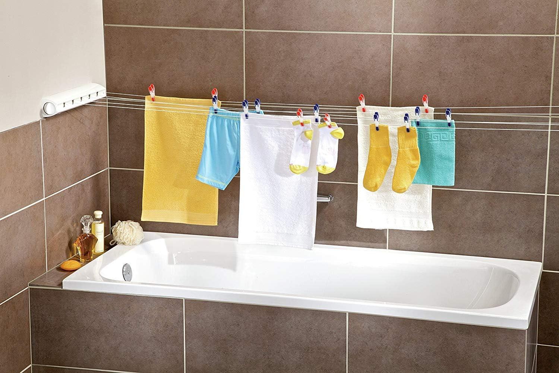 Leifheit Wandtrockner Rollfix 10 Longline, 10m Wäscheleine für 10  Waschmaschinenladungen, ausziehbarer Wäscheständer, platzsparender  Trockner,