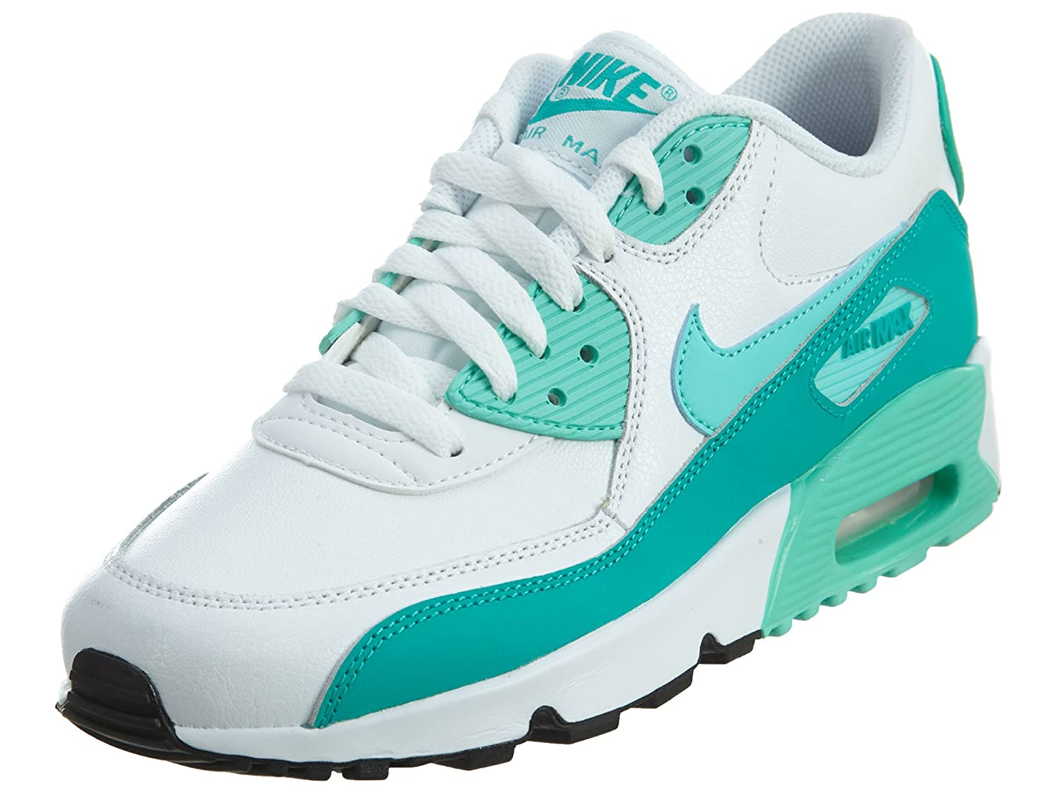 f7e88814ab Amazon.com | Nike Air Max 90 LTR White/Hyper Turquoise-Clear Jade-Black  (GS) | Running