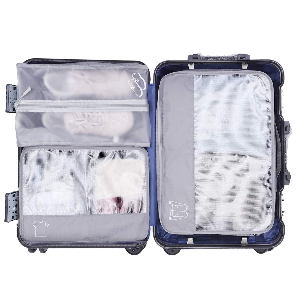 Organizador de Equipaje Impermeable, 6 Set de Organizador de Viaje para Maletas con Bolsa de Almacenamiento Transpirable para Zapatos, Ropas Sucias y Cosméticos, Material Nylon