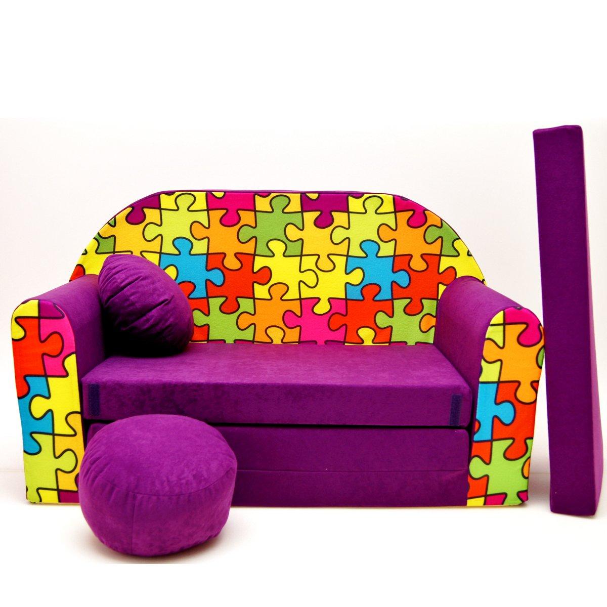 Kindersofa Kinder Sofa Couch Baby Schlafsofa Kinderzimmer Bett gem/ütlich verschidene Farben und motiven A14 grau Trucker