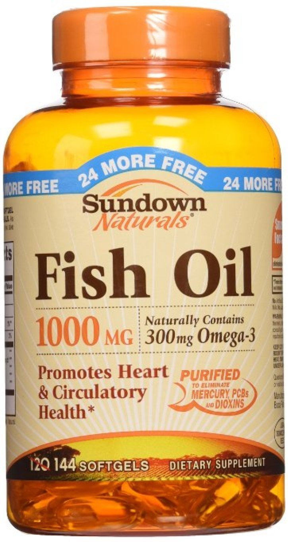 Sundown Naturals Fish Oil 1000 mg Softgels 120 Soft Gels (Pack of 11)