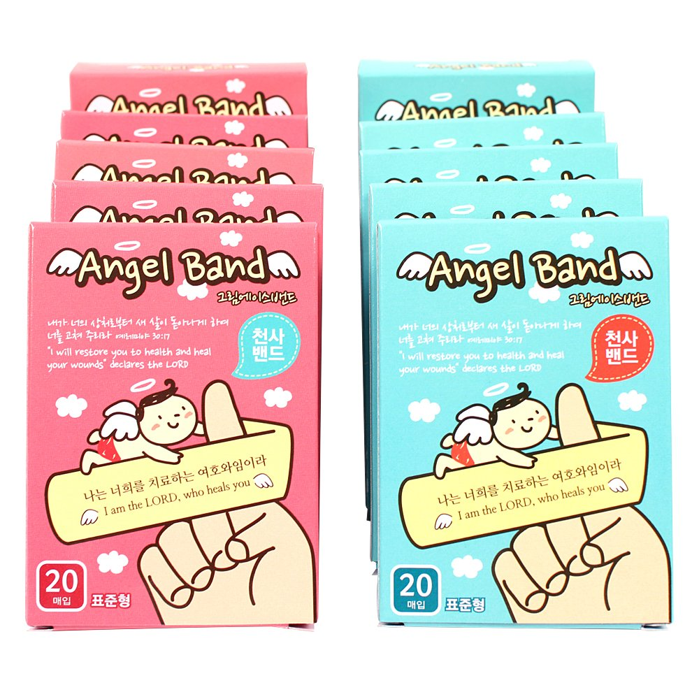 KOZIP Pack of 10 Adhesive Bandages 3/4x3 Christian Bible Verse Angel Character for Kid's Gift, for Gospel 전도용 천사밴드
