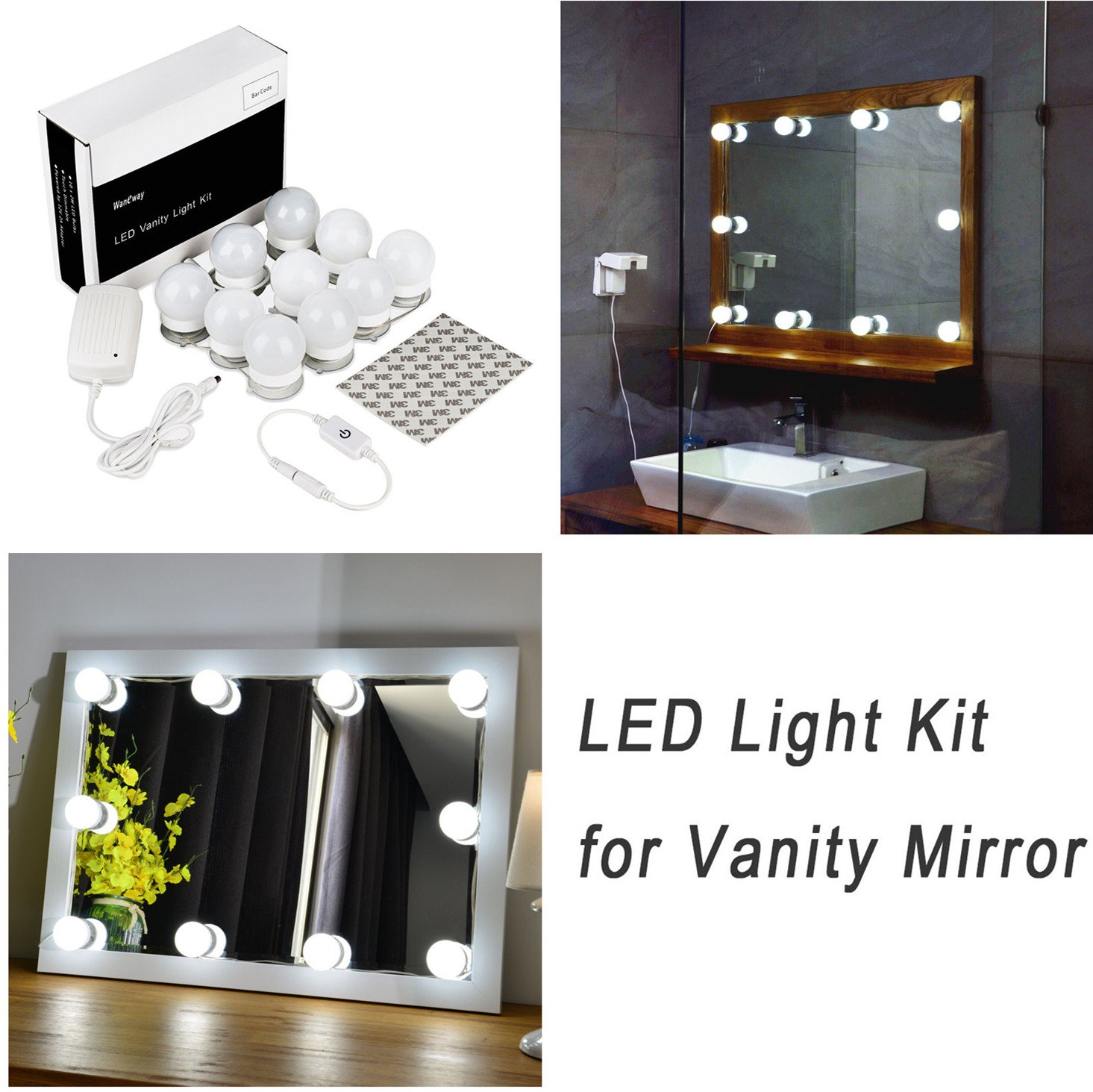hollywood style led vanity mirror lights kit for makeup dressing table vanity set mirrors with dimmer and power supply plug in lighting fixture strip