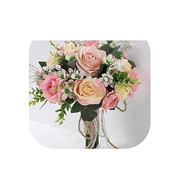 Amazon.com: Ramo de flores de boda romántico rosa fucsia de ...