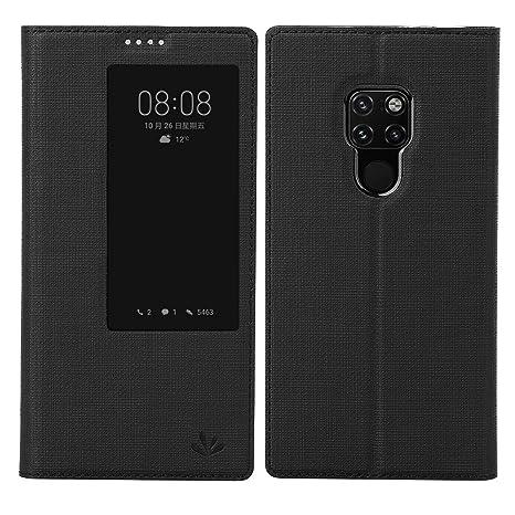 DDJ Funda Mate 20X Case, Carcasa Libro de Cuero con Tapa Soporte Plegable,Smart Window View Cierre Case Flip Capa para Huawei Mate 20X (Negro)