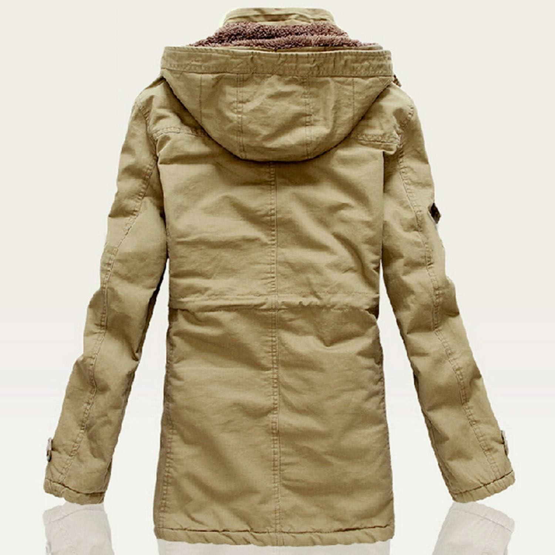 Men Outwear Breathable Warm Coat Parkas Thickening Casual Cotton-Padded Jacket Fleece Parkas,Green,XXXL