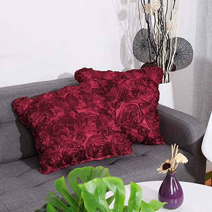 PICCOCASA - Funda de cojín con diseño de Rosas de satén en 3D para sofá, 40,6 x 40,6 cm, Seda sintética Raso, Granate, 2 PC